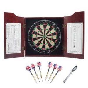GSE Games & Sports Expert Solid Wood Dartboard Cabinet Set