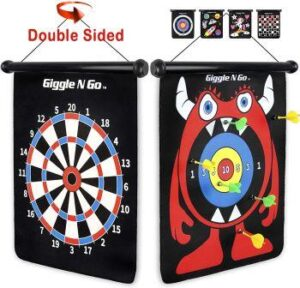 GIGGLE N GO Magnetic Dart Board Game - Our Reversible Rollup Kids Dart Board Set